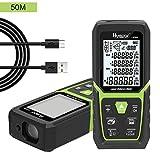 HueparTelémetros Láser Laser Distance medida 50M con batería de ion de litio y sensor de ángulo eléctrico, LCD retroiluminada Medida láser M / In / Ft con alta precisión Modos de medición múltiple, pitagórico, distancia, área y volumen (50M)