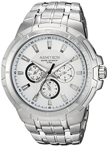 Armitron Men's 20/5144SVSV Multi-Function Dial Silver-Tone Bracelet Watch