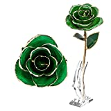 ZJchao Long Stem Dipped 24k Gold Trim Red Rose In Gold Gift Box with stand (green rose with stand)
