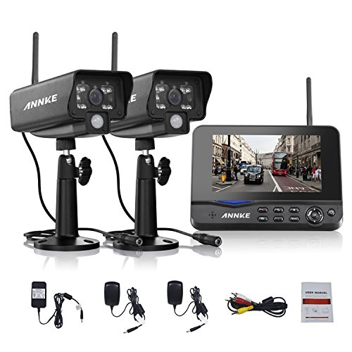 Range Camera Long Wireless - Annke Digital Wireless 4CH DVR Security System with 7 Inch LCD Monitor SD Card Recording and 2 Long Range Night Vision Cameras