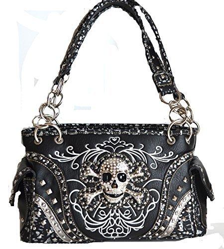 kull head concho stitched handbag purse (BLACK) (Black Stitched Handbag)