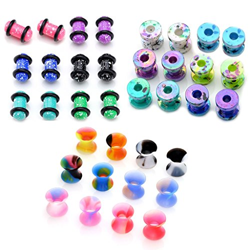 piercingj-36pcs-candy-colors-spots-acrylic-ear-stretching-plugs-kit-and-double-flared-thin-silicone-
