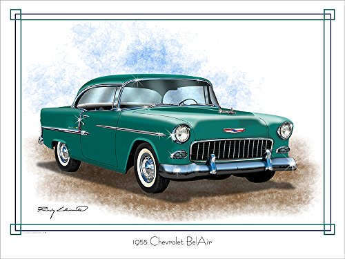 1955 Chevrolet Bel Air 2 Green Muscle Car Art Print by Rudy Edwards 18