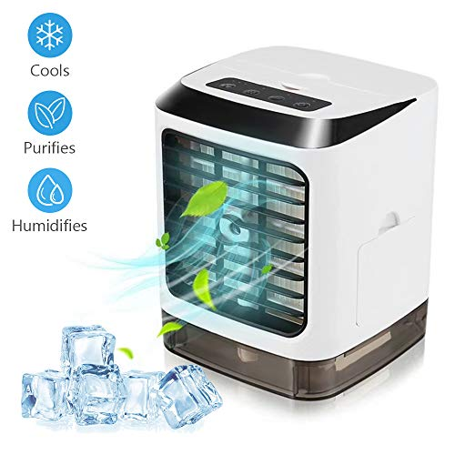 Portable Air Conditioner, 3 in 1 Mini Personal Air Conditioner, Humidifier Purifier & Evaporative Desktop Cooling Fan, Personal Air Cooler Table Fan for Home Bedroom Office Without Remote Control