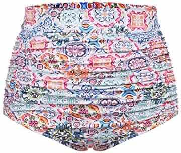 de0592611e665 IN VOLAND Women Plus Size Retro High Waisted Bikini Bottom Ruched Swim  Short Tankinis