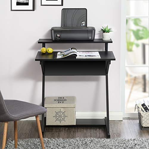 Fitueyes Small Computer Desk with Monitor Shelf Study Writing Desk for Small Spaces CD307001WB