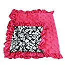 Hairbows Unlimited Hot Pink Damask Lined Minky Baby Blanket Girls Gift