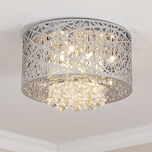 Pendant Settings Mounts - Saint Mossi Modern K9 Crystal Raindrop Chandelier Lighting Flush Mount LED Ceiling Light Fixture Pendant Lamp for Dining Room Bathroom Bedroom Livingroom 8 E12 Bulbs Required W16.8 x H9.7