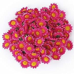 Jdbuy 100x Artificial Gerbera Daisy Flowers Heads for DIY Wedding Party (rose)
