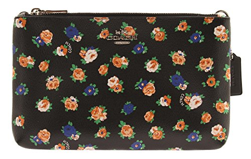 COACH Lyla Crossbody in Floral Coated Canvas Double Zip Crossbody (Black Multi) by Coach