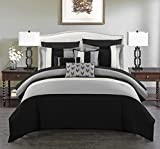 Chic Home Ayelet Comforter Set Ruffled Bag Bedding-Decorative Pillows Shams Included, 8 Piece, Twin, Black
