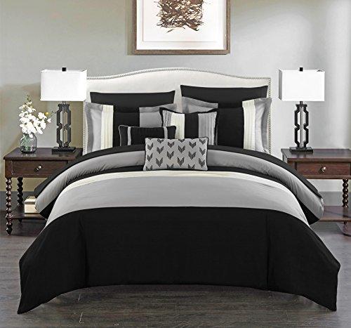 Chic Home 10 Piece Ayelet Comforter Set, King, Black