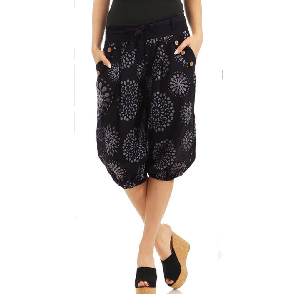 UONQD Womens Pants Ladies Not Positioned Printing Dot Floral Trousers Bloom (XXXXX-Large,Black)