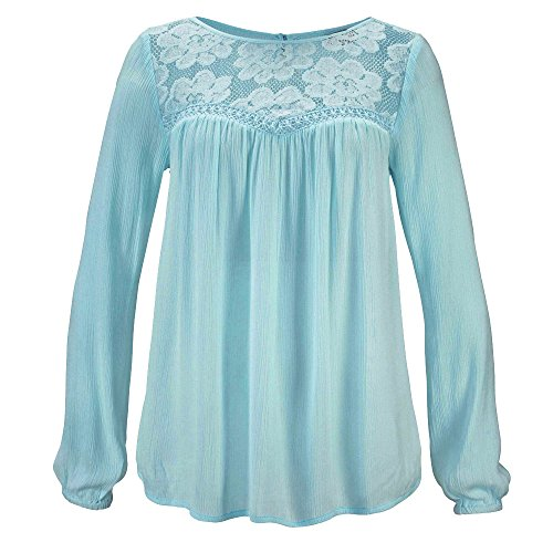 Pizzo Tops Camicetta Donne Blu Bhydry Casual Lunga Manica Patchwork aXZqRA