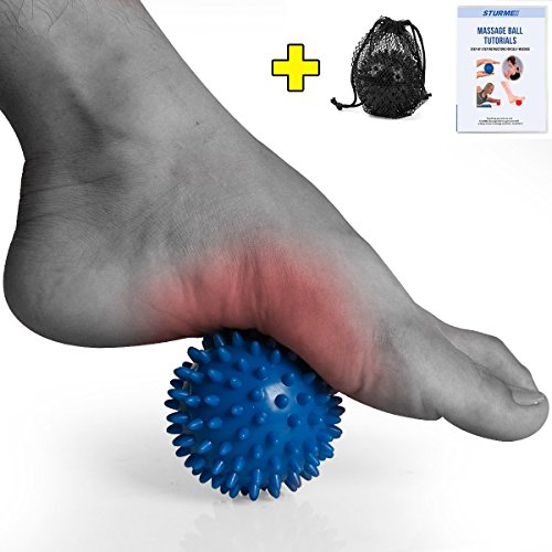 STURME Massage Ball Spiky Deep Tissue Foot, Back, Plantar Fasciitis & All Over Body Deep Tissue Muscle Therapy - Includes Free Tutorial Holder Ball Bag (Blue)