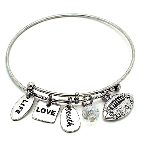 KIS-Jewelry Symbology 'Football' Bangle Bracelet, Silver Plated - Expandable Wire Charm Bracelet Accented with Crystal Stones and One Shiny Glass Bead - Perfect Jewelry for Fashion