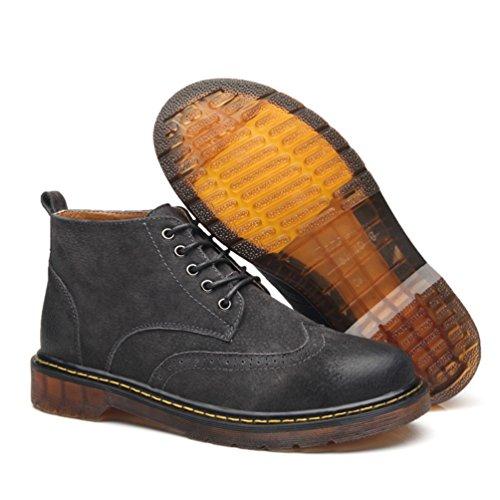 CHENGYANG Schneestiefel PU Leder Schuhe Schnürhalbschuhe Stiefel Winter Boots für Herren Schwarz Grau