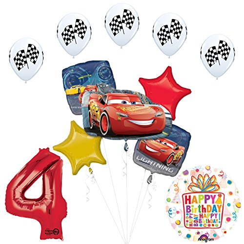 Disney Cars 3 Lighting McQueen 4th Birthday Party Supplies and Balloon Decorations