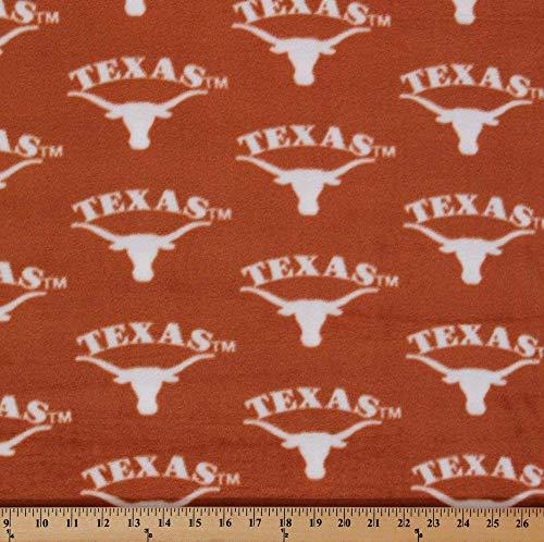 (Fleece University of Texas Longhorns College Fleece Fabric Print by The Yard - Orange)