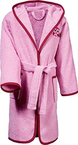 Kinderbutt Bademantel mit Stickerei Eule Frottee rosa Größe 122 / 128