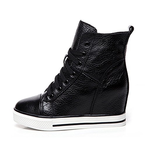 Sneaker Btrada Fashion Con Sneaker Causale High Heel Lace Up Con Tacco Alto Per Donna Nero