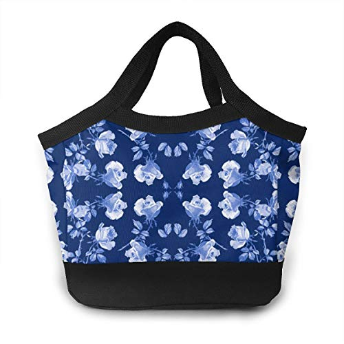 JHNDKJS Hampton Roses in Ink Wallpaper Lunch Bag Insulated Lunch Box Cooler Bag for Women Men Adults Work