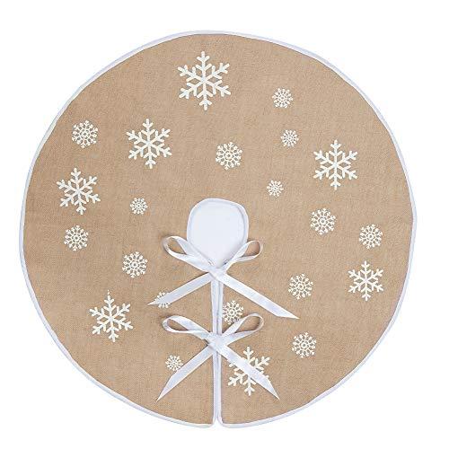 (N&T NIETING Macting Round Snowflake Santa Claus Christmas Holiday Burlap Tree Skirt)