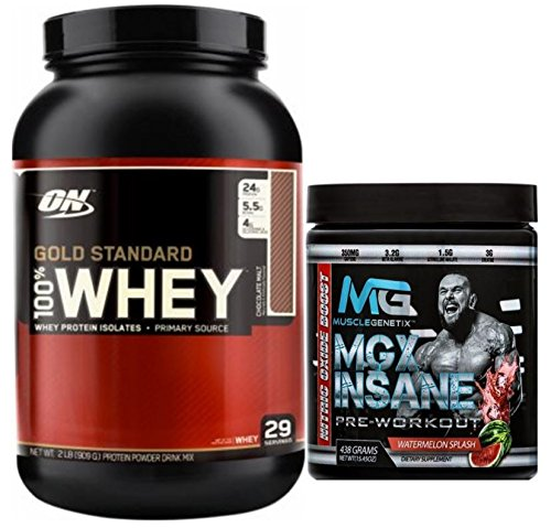 Gold Standard 100% Whey Protein, 5lb, Double Rich Chocolate + MGX Insane Pre-Workout Energy & Endurances booster, 438 Grams Watermelon