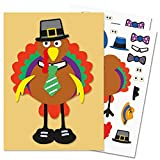 "Make-A-Turkey Sticker Sheets - Set of 12, Turkey approx. 4"" Tall"