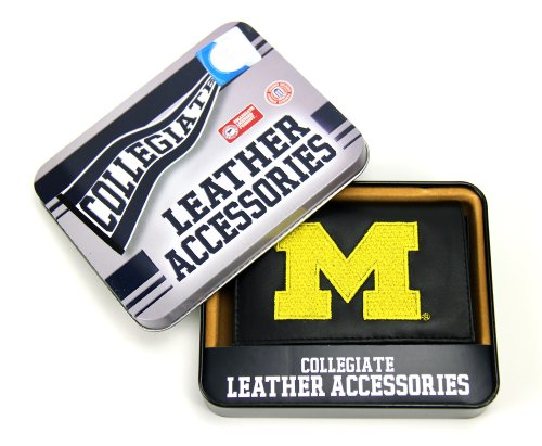 NCAA Michigan Wolverines Embroidered Genuine Leather Trifold Wallet - Leather Michigan Wolverines Wallet