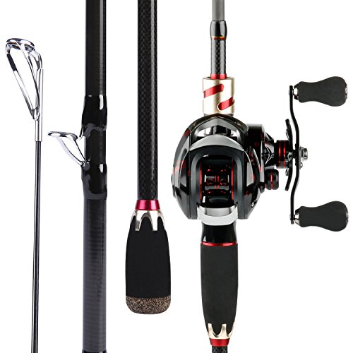 Sougayilang Baitcasting Fishing Rod with Reel Combos, Medium Power Portable Carbon Travel Fishing Pole,4Piece…