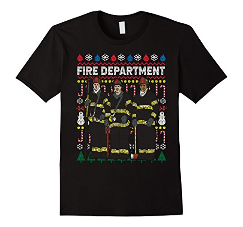 Men's Ugly Christmas Sweater Fire Department T-shirt