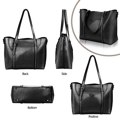Women Top Handle Satchel Handbags Shoulder Bag Tote Purse Greased Leather Iukio (Black) by IUKIO (Image #5)