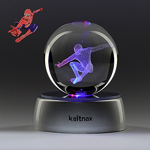 Spider Man Figurine (3D Laser Etched Crystal Ball(50mm) Puzzle With LED Base (Spider-Man))