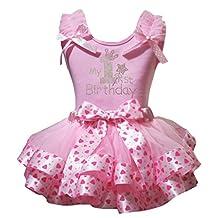 Petitebella My 1st Birthday Shirt Pink Valentine Heart Petal Skirt Outfit Nb-8y
