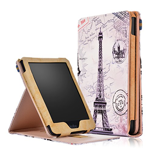 Kobo Clara HD Case - Ratesell Slim Folding Stand Folio Cover Case for Kobo Clara HD Tablet with with Auto Wake/Sleep Document Card Slots & Multiple Viewing Angles Eiffel Tower