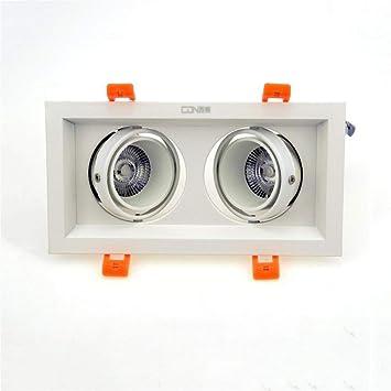Modenny 2 luces Ahorro de energía LED Empotrado Luces de techo Focos reflectores Cuadrado Ángulo de
