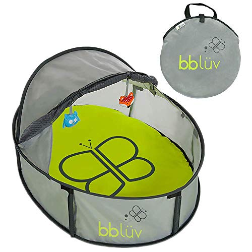 Nidö Mini Pop Up Play Tent and Canopy Sun Shelter with SPF 50  Mosquito Net Perfect for Infant at the Beach Park Camping or Playroom Easy Fold Up for Travel with Removable Mat  3 Toys Included