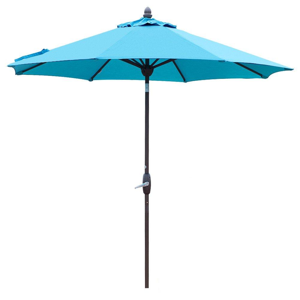 Sunbrella Patio Umbrella 9 Feet Outdoor Market Table Umbrella with Auto Tilt, Crank and Umbrella Cover, Canvas Aruba