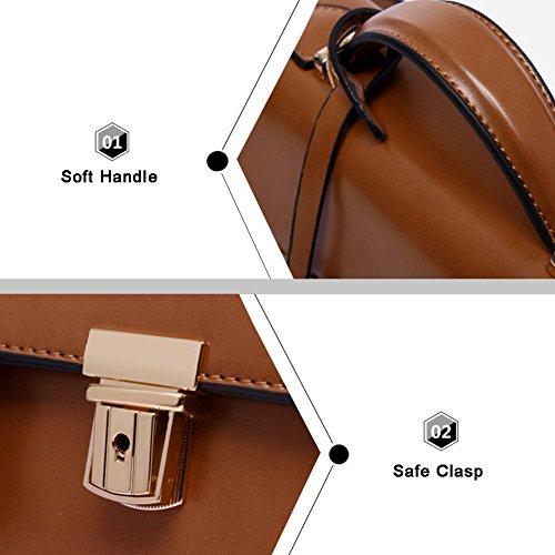Yoome bolso de la aleta retro elegante para la cita de cadena Zigzag plegable Crossbody bolsos de hombro para las mujeres - Café café