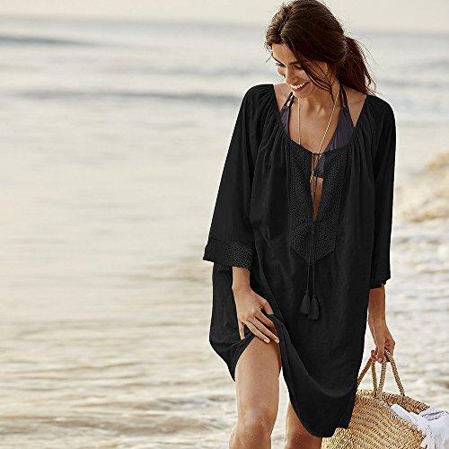 Robe Sfit Bikini Couleur de de Unie Noir V en Mode Plage Gland Maillot Femme de de Col Bain Blouse Plage Coton tYwrIxqBY