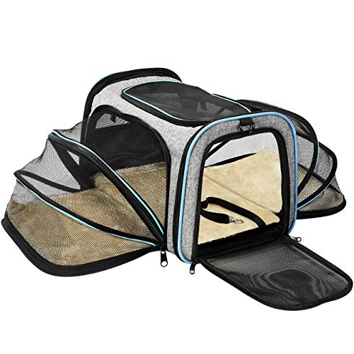 OMORC Pet Carrier Airline Approved, Expandable Foldable Soft-Sided Dog Carrier, Cat Carrier with 3 Open Doors, 2 Reflective Tapes, Pet Travel Bag Safe and Easy for Cats and Dogs