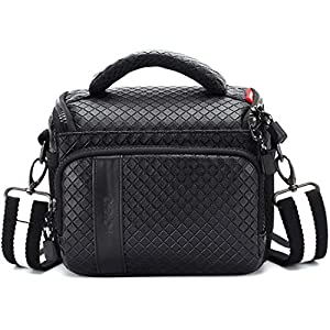 MCHENG Shockproof Waterproof Camera Bag PU Leather Camera Shoulder Case for Nikon Canon Sony Panasonic Compact System…