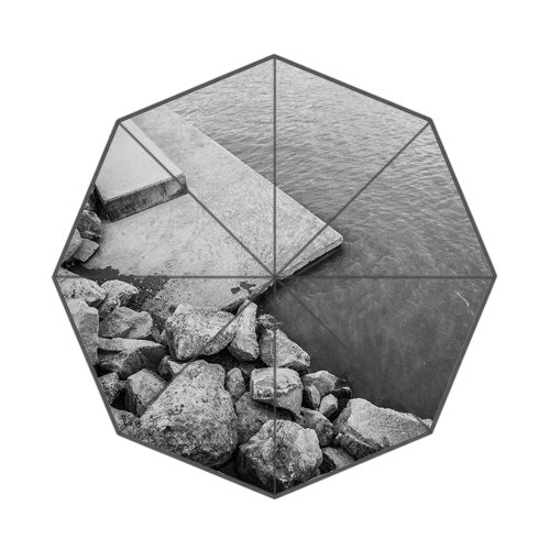 Flipped Summer Y Lake Shore with Rocks Customized Art Prints Umbrella by Flipped Summer Y