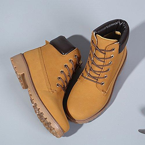CHNHIRA Damen Herren Martin Stiefel Sneaker Gelb+Warm gefüttert