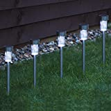 Babz - 10 x GARDEN SOLAR POWERED STAINLESS STEEL POST LIGHTS