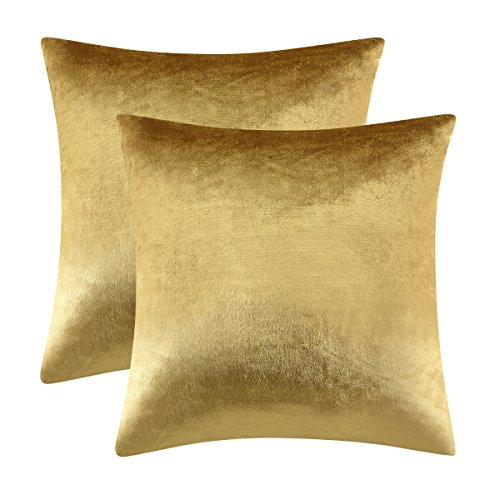 GIGIZAZA Gold Velvet Decorative Throw Pillow Covers for Sofa