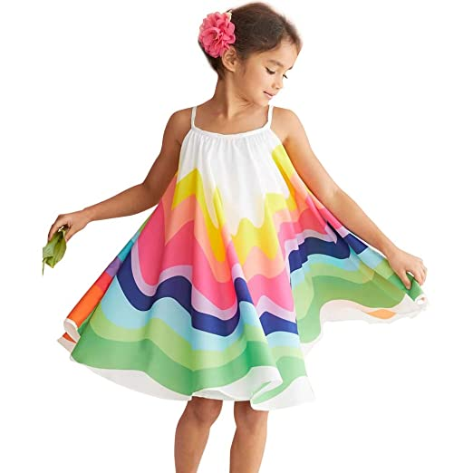 77b24e77ae4d6 Kids Baby Girls Princess Dress Spaghetti Strap Sleeveless Sling Chiffon  Summer Rainbow Beach Party Casual Swing Tutu Dress