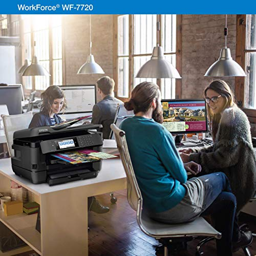 Workforce WF-7720 Wireless Wide-Format Color Inkjet Printer with Copy, Scan, Fax, Wi-Fi Direct and Ethernet, Amazon Dash Replenishment Enabled (Renewed)