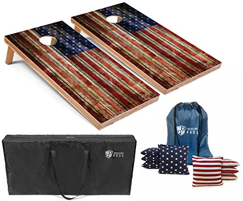 Tailgating Pros American Flag Wooden Plank Design Cornhole Board Set w/Bean Bags and Carrying Case – 4'x2′ Corn Hole…